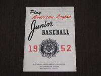 VINTAGE 1952 AMERICAN LEGION JUNIOR BASEBALL BOOKLET