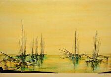 HANSEN Original Vintage Signed Sail Ship Fishing Boats Seascape Lithograph COA