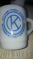 Vintage Fire King cup mug Kutztown foundry PA berks county McConway Torley