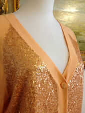 St John Knit Dark Apricot  Sequins Top Blouse Sweater Cardigan Jacket M $695.00