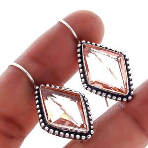 Diamond Shape Morganite Quartz Gemstone Handmade Hook Earring 1'' to 2'' Y311