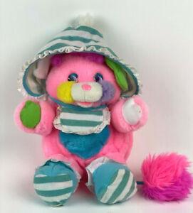 "Vtg BABY Cribsy Popples PLUSH 12"" Stuffed ANIMAL TcFc 1986 Rattle STRIPED Pajama"