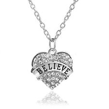 BELIEVE SILVER NECKLACE WITH SHINY STUDDED CLEAR CRYSTAL HEART PENDANT  #KC28