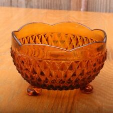 Vintage Indiana Diamond Point Amber Glass Footed Bowl Dish