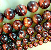 """Rare Natural Red Tiger Eye Gemstone Round  Loose Beads 15""""6mm 8mm 10mm 12mm 14mm"""