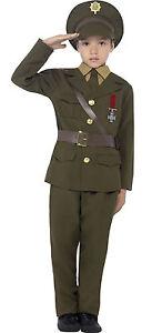 Smiffys Boys Childs Army Officer Uniform WW2 WW1 1940s Costume Outfit 7-12