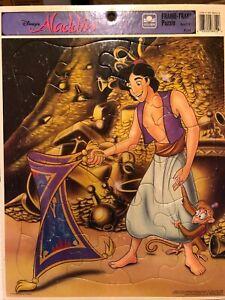 Vintage Golden Frame Tray Puzzle Disney's Aladdin Abu Magic Carpet 8312A