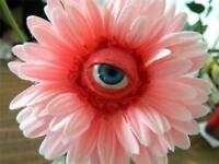 HALLOWEEN PROP REALISTIC FREAKY FLOWER SILK Long Stem BLUE Rose WITH ACRYLIC EYE