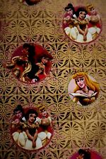 Disney Princesses Beautiful Gold Gift Wrapping Paper + Tag Birthday Disneyana