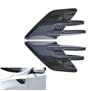 Car Side Fender Air Flow Vent Cover Carbon Fiber Style Decoration Stickers 2Pcs