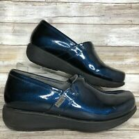 Softwalk Greys Anatomy Womens 11M Blue Patent Leather Clogs Slip Resistant