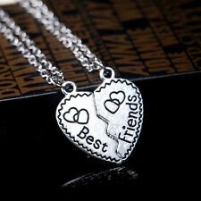 Best Friend Gold Silver 2Piece Crystal Break Heart Pendant Necklace GRO