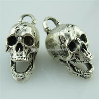 13980 5PCS Antique Silver Ghost Skull Skeleton Pendant Halloween Jewelry Making
