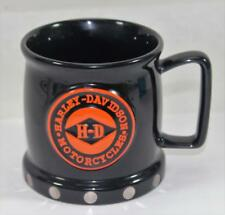 Harley Davidson Black & Orange Mug Silver Stud Rivets