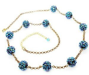 Women's Necklace Catalogue Fashion Jewellery – SPARK BLUE GLITTER BALL NECKLACE