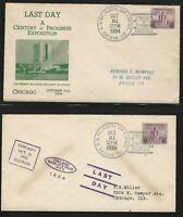 U.S., Scott #729 on Two, Oct. 31, 1934, Century of Progress Last Day Covers
