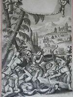 Jonathan & Armor Bearer Biblical Warriors 1690 Blome antique religious engraving