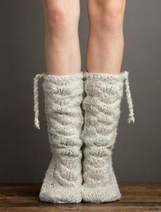 Lemon Knit Faux-Fur Lined Mukluk Slipper Socks Faux-Suede Sole Blue-Grey