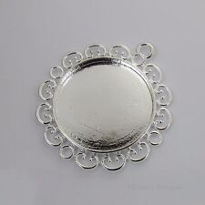 30mm Round Flower Silver Plated Cabochon (Cab) Drop Setting (#RB-C3547)