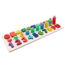 Wooden Number Shape Matching Cognitive Logarithmic Board Educational Toy ON