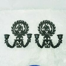 2 Vintage black cast iron eagle heart and wreath wall candle holder sconces