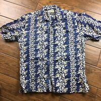 Cooke Street MENS LARGE Honolulu Blue Floral Short Sleeve Hawaiian Shirt