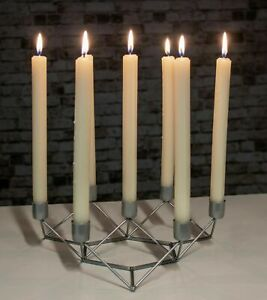 7 Taper Candle Holder Large Silver Modern Home Candlebra Geometric Centrepiece