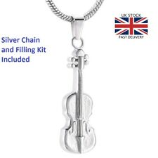 Violin Cremation Urn Pendant Ashes Necklace Funeral Memorial Jewellery