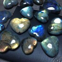 Natural Labradorite Stone Crystal Rock Polished Heart Shaped Healing Gemstone