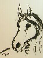 Jose Trujillo Ink Wash 18x24 Painting Abstract Horse Pony Minimalist New Modern