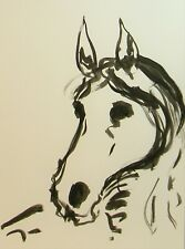 Jose Trujillo Ink Wash 18x24 Painting Abstract Horse Pony Minimalist New Modern