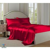 King Size Satin Sheets Silk Sheet Set Full Summer Bed Cover Thin Bedding Red LUX