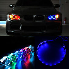 2Pcs Blue LED Lights Devil Eyes Demon For Auto Headlight Projector Lens Rings