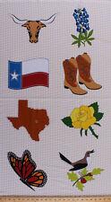 "24"" X 44"" Panel Quilt Across Texas Symbols Flag Bird Cotton Fabric Panel D503.06"