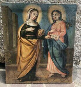 Antico quadro -Olio su tela - scena religiosa - Arte sacra / Sant'Anna