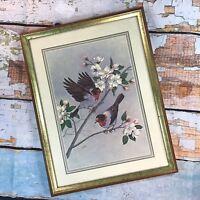 VTG Signed Lithograph Bird Flower Dogwood Gold Framed Art Mid Century Modern