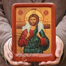 Good Shepherd Jesus Painting Byzantine Catholic Religious Icon Sale Aging Effect