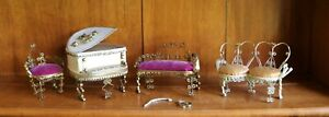 VINTAGE HANDMADE QUILLING TRAMP ART DOLL HOUSE FURNITURE LOVE SEATS PIANO CHAIR