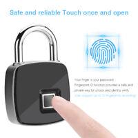 Fingerprint Lock Smart Keyless Padlock For Door Box Bag Waterproof USB Charging