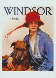 Fashion Art Print Model Woman WINDSOR April Jacket Hat Feather Wolfhound Dog