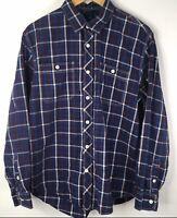 Tommy Hilfiger Mens Shirt Trim Fit Long Sleeve Button Up Blue Plaid Size Large L