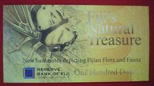 Fiji $100 1-Hundred Dollars FOLDER 2012 Bird Flora Fauna Currency Bank Note UNC