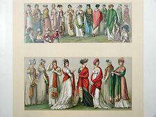 Costume féminin : Le châle CHROMOLITHOGRAPHIE ORIGINALE 19e s. Racinet CACHEMIRE