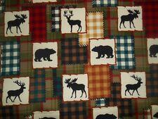 flannel fabric 1 yd. x 44 in. elk, moose, bear patterned in block style