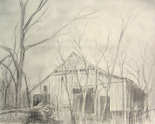 Forlorn old ACEO Barn creepy rural Pencil Drawing ORIGINAL ARTWORK forest farm