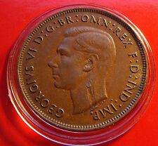 XF ERROR CHOCOLATE BROWN 1938 AUSTRALIA PENNY George VI Finer Grade, Scarce