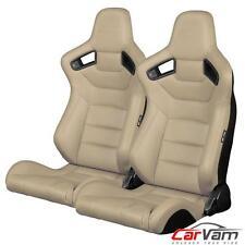 BRAUM - Beige Leatherette Carbon Fiber Mixed ELITE Racing Seats BRR1-BGBW -Pair