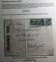 1940 Rotterdam Netherlands Censored Undercover Address Cover To Lisbon Portugal