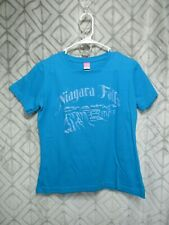 LAT T Shirt Size M Blue Niagara Falls Glitter Pull Over Short Sleeve Casual