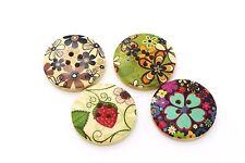 Large Flower Strawberry Wooden Buttons Floral Hippie Round Shape Coat 30mm 20pcs